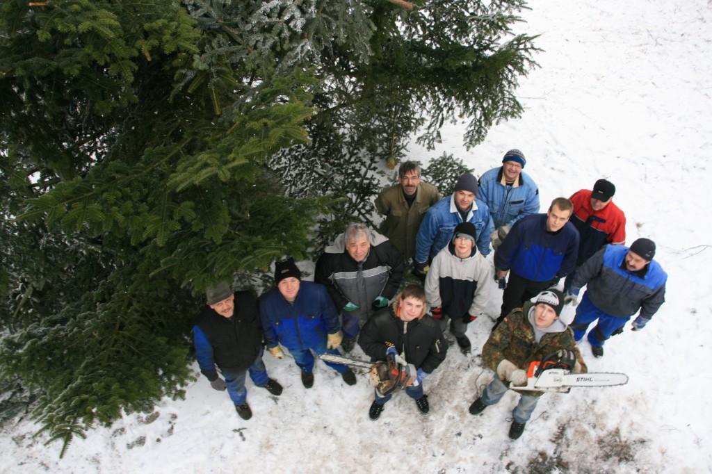 RAN AN DEN BAUM: Zu Kleinholz verarbeiteten die Eigenrieder am Wochenende ihr Prachtexemplar von Weihnachtsbaum. Foto: I. Henning